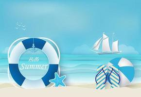 playa y verano fondo azul vector