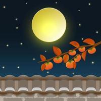 Persimmon tree under the full moon vector