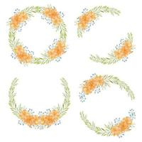 Collection of watercolor marigold flower circle wreath
