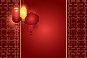 Red background with Asian lanterns and traditional pattern vector
