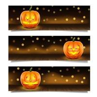 banners horizontais de abóbora de halloween