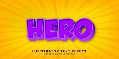 diseño de efecto de texto de héroe púrpura vector