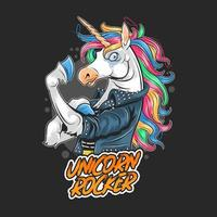 Angry rocker unicorn wearing a leather jacket vector