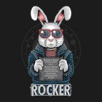 Punk rocker rabbit holding a sign vector