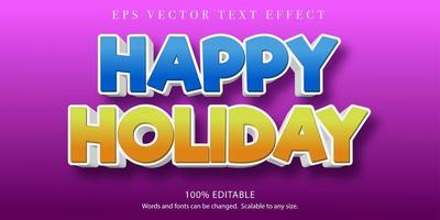 Happy holiday 3d editable text effect vector