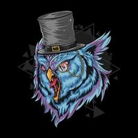 Mystic owl with top hat design  vector