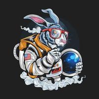 diseño de conejo astronauta vector