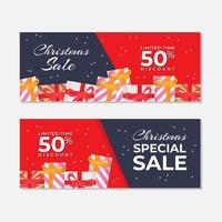 Red Christmas Sale Banner Set with Gifts  vector