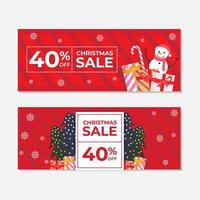Red Christmas Sale Banner Template Set vector
