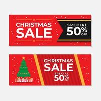 Red Christmas Sale Banner Set with Tree  vector