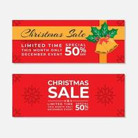 Red Christmas Sale Banner Template Design Set