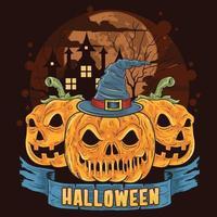 calabazas en una espeluznante noche de halloween