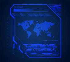 World Binary Circuit Board in Blue