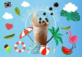 Bubble and Pearl Milk Tea Background Design  vector