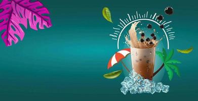 Bubble and pearl milk tea background vector