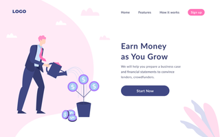 Money Investment Landing Page vector