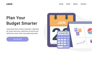 Business and Budget Plan Landing Page vector