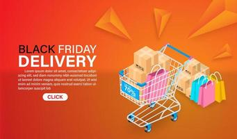 Black Friday Delivery Landing Page Concept vector