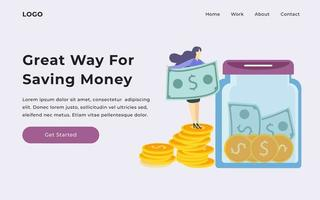 Saving Money Landing Page vector
