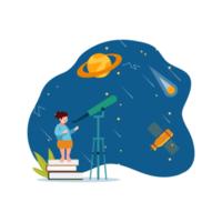 niños mirando el espacio a través del telescopio. vector
