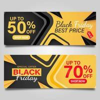 Banner de viernes negro en amarillo y negro. vector