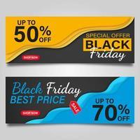 Diseños de pancartas de viernes negro en amarillo y azul.
