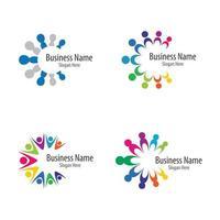 conjunto de quatro ícones do trabalho em equipe