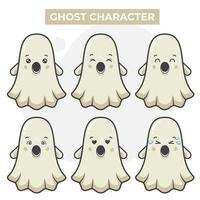 lindo conjunto de personajes fantasmas vector