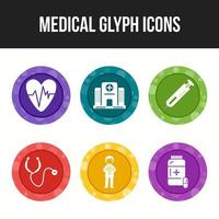 Medical icon glyphs vector