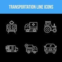 Transportation unique line icon set vector
