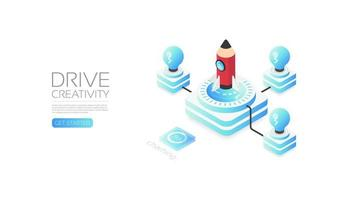 Isometric pencil rocket for drive creativity concept vector