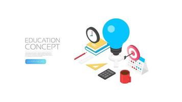 Isometric knowledge and education concept banner vector