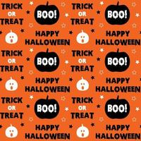 Happy halloween lettering with pumpkin seamless pattern  vector