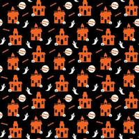 Halloween haunted house with ghosts seamless pattern vector