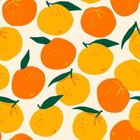 Seamless Pattern with Mandarins