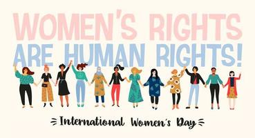 International Women's Day with multi-cultural women  vector