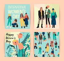 Abstract Women with Different Skin Colors Cards vector