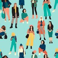 patrones sin fisuras con diversas mujeres vector