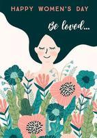 linda tarjeta floral del día internacional de la mujer