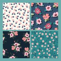 Floral seamless pattern collection vector