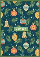 hermosa plantilla de tarjeta de felicitación de decoraciones navideñas