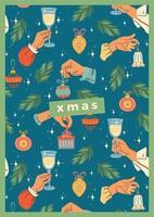 plantilla de tarjeta de felicitación de navidad con manos
