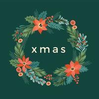guirnalda floral navideña, decoración de guirnaldas vector