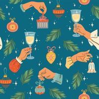 navidad, seamless, patrón, con, manos