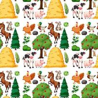 Farm animal group theme seamless pattern