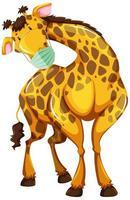 Giraffen-Zeichentrickfigur, die eine Maske trägt