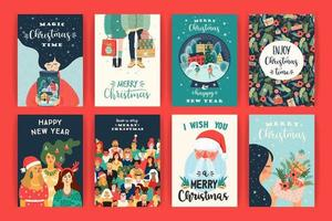 Collection of Christmas and New Year's greeting cards  vector