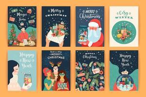 colección de tarjetas de felicitación de navidad y año nuevo. vector