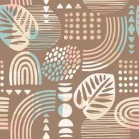 Seamless pattern with abstract leaves and geometric shapes