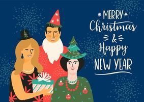 diseño de tarjetas de felicitación de navidad y año nuevo